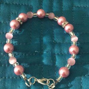 Jewelry - pretty pastel pink faux pearl rhinestone bracelet
